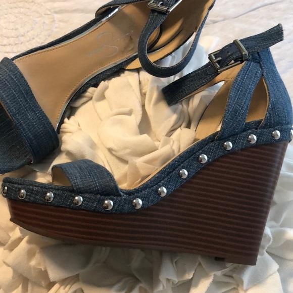 b27fc2f9f38 Jessica Simpson Shoes - Jessica Simpson Jaylow Denim Wedge Sandal 7.5